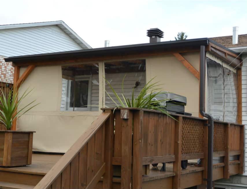 Ajout de toile en pvc sur abri terrasse