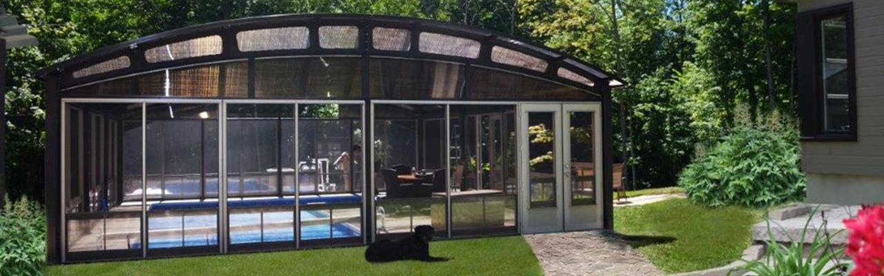 Abri piscine Tendal avec arches d'acier